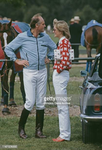 Diana, Princess of Wales with Major Ronald Ferguson at a polo match at Smith's Lawn, Guards Polo Club, Windsor, June 1983. Diana is wearing a Muir...