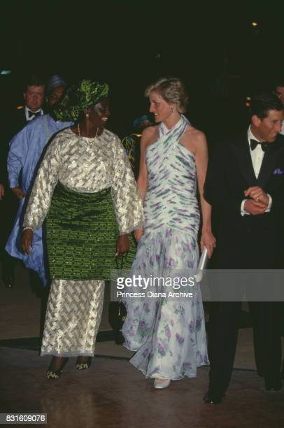 Diana Princess of Wales with Maryam Babangida former Nigerian First Lady at a State Banquet held by president Badangida during the official visit to...