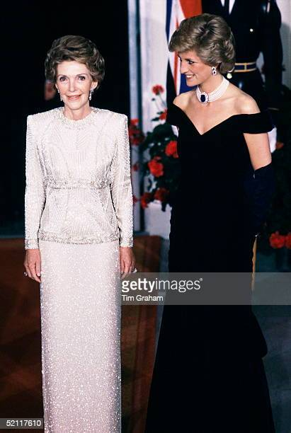 Diana Princess Of Wales With Nancy Reagan At The White House Wearing A Dress Designed By Fashion Designer Victor Edelstein