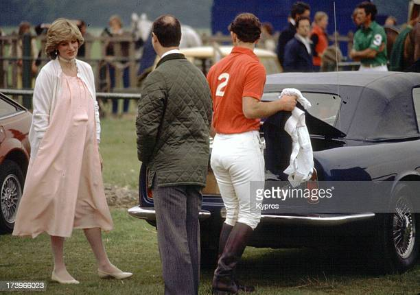 Diana Princess of Wales with Prince Charles during a polo event at Windsor Great Park in Windsor England 1982