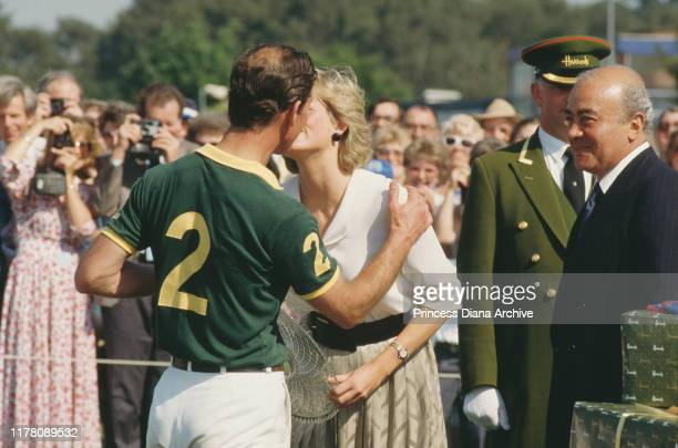 Diana Princess of Wales with Prince Charles during the Harrods Polo Cup at Smith's Lawn in Windsor UK July 1987 She presented some of the prizes...