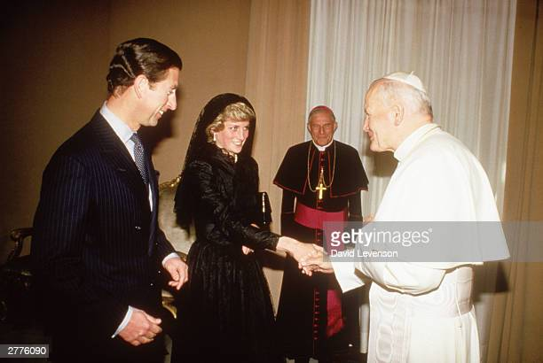Diana Princess of Wales with Prince Charles have an audience with Pope John Paul II in the Vatican Rome Italy in April 1985 during the Royal Tour of...