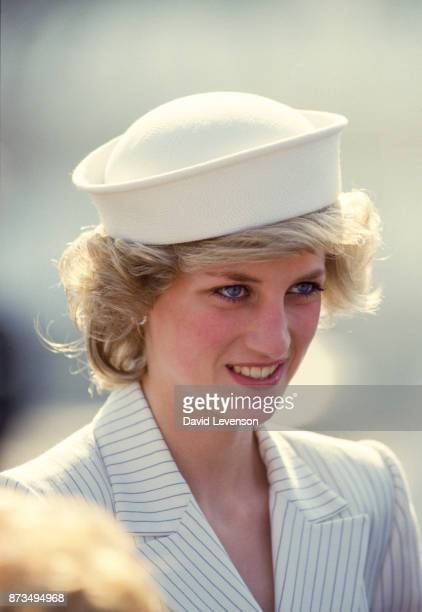 Diana Princess of Wales with Prince Charles on board a ship at the naval base on April 20, 1985 in La Spezia, Italy during the Royal Tour of Italy....