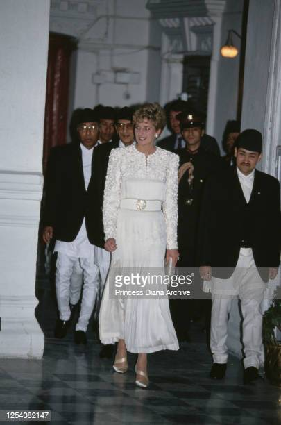 Diana Princess of Wales with Prince Dipendra of Nepal during a banquet at the royal palace in Kathmandu Nepal 3rd March 1993