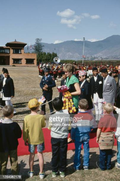 Diana Princess of Wales with Prince Dipendra of Nepal upon her arrival at Kathmandu airport in Nepal 2nd March 1993