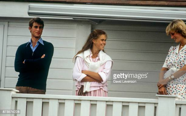 Diana Princess of Wales with Prince Edward and Lady Sarah Armstrong Jones at Guards Polo club in Windsor on July 24 1983