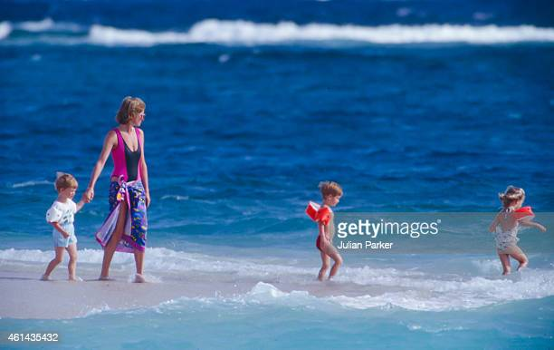 Diana Princess of Wales with Prince Harry and her Niece's and Nephew's on holiday on Necker Island on January 9 1989 in Necker Island British Virgin...