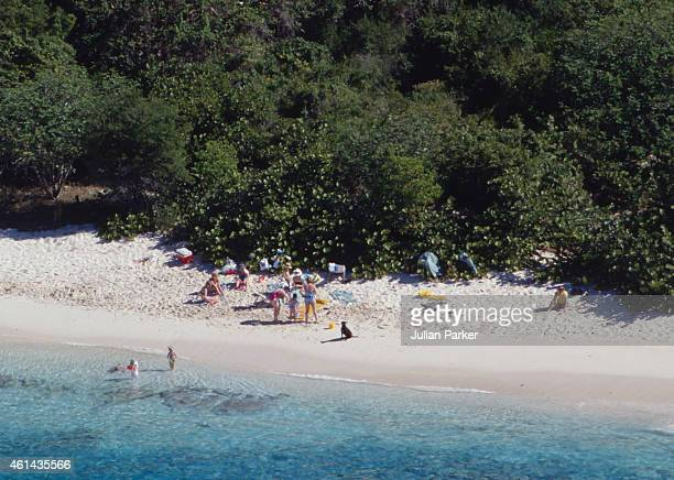 Diana Princess of Wales with Prince Harry and Prince William and her Niece's and Nephew's on holiday on Necker Island on January 9 1989 in Necker...