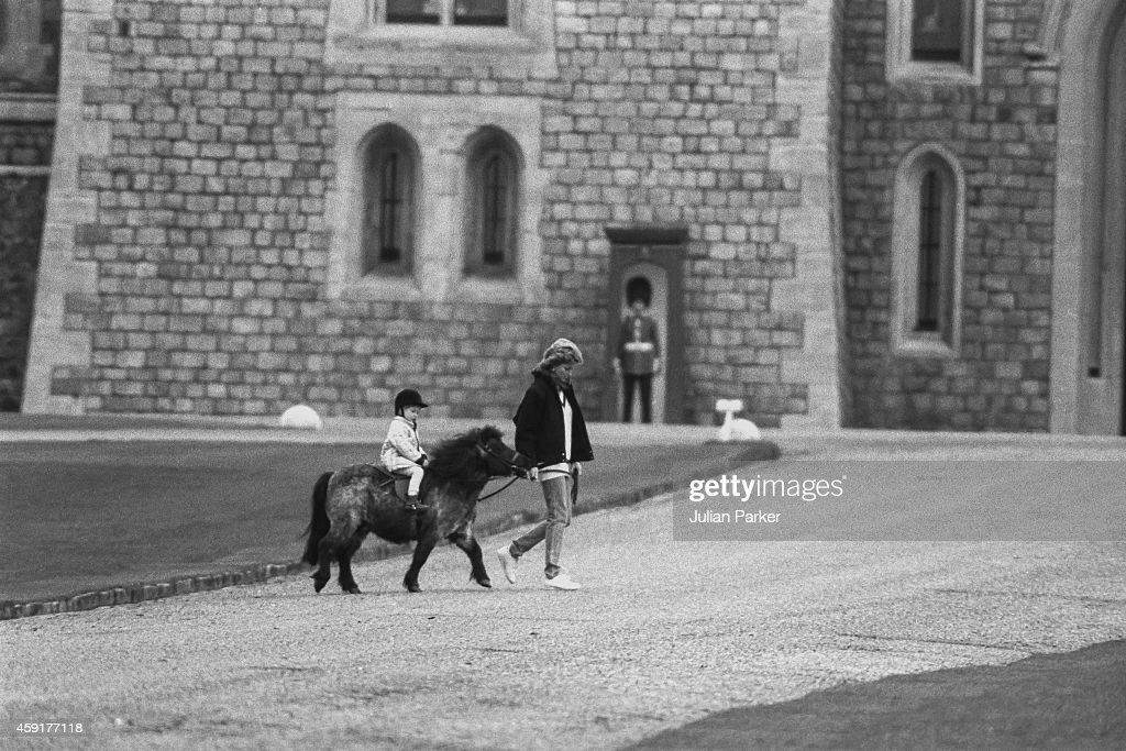 Diana, Princess of Wales, with Prince Harry, during the Easter Weekend, at Windsor Castle, on April 2, 1988 in Windsor, United Kingdom.