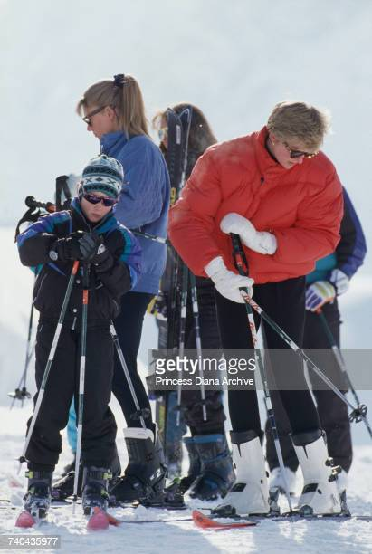 Diana Princess of Wales with Prince Harry on a skiing holiday in Lech Austria March 1993