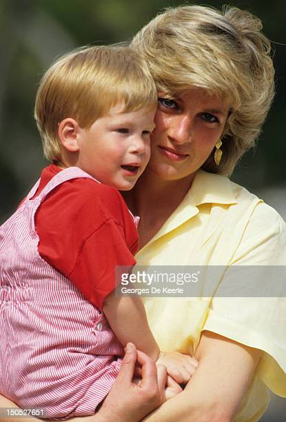 Diana Princess of Wales with Prince Harry on holiday in Majorca Spain on August 10 1987
