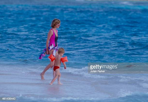 Diana Princess of Wales with Prince Harry on holiday on Necker Island on January 9 1989 in Necker Island British Virgin Islands