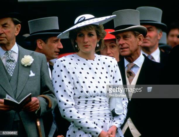 Diana Princess Of Wales With Prince Philip On Derby Day Princess Diana Is Wearing A Polka Dot Day Dress Designed By Fashion Designer Victor Edelstein