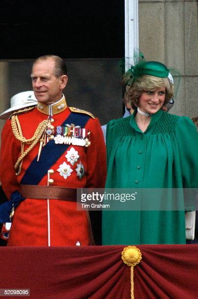 Diana, Princess Of Wales, With Prince Philip Standing On The Balcony Of Buckingham To Watch Trooping The Colour. The Princess Wearing Maternity...