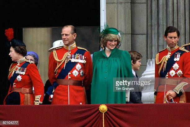 Diana Princess Of Wales With Prince Philip Standing On The Balcony Of Buckingham Palace With Prince Charles And Queen Elizabeth Ll To Watch Trooping...