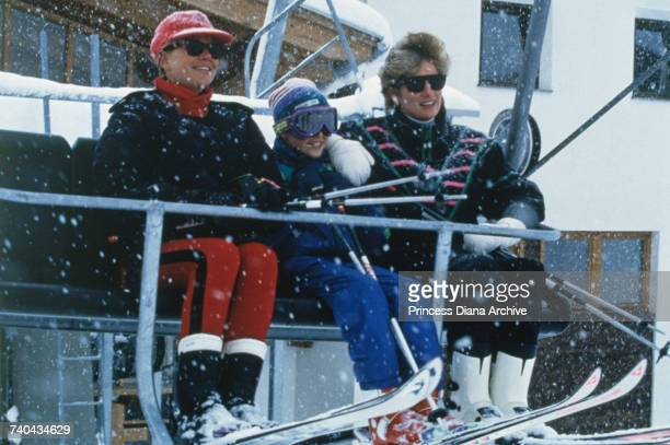 Diana Princess of Wales with Prince William and her friend Kate Menzies on a skiing holiday in Lech Austria March 1993