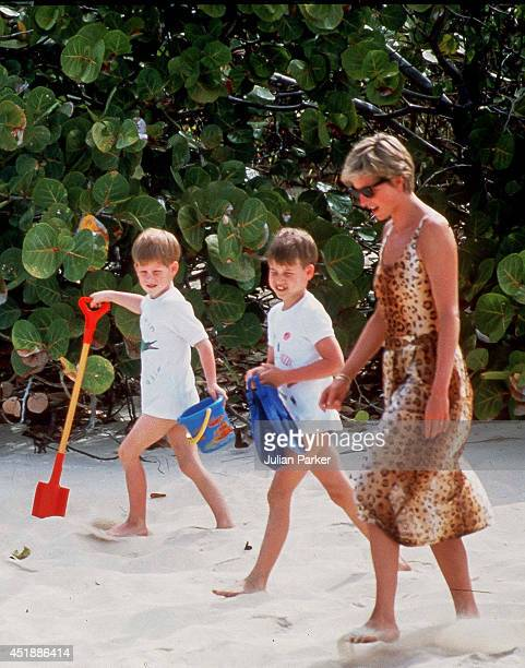 Diana Princess of Wales with Prince William and Prince Harry on Holiday In Necker Island In The Caribbean on April 11 in the British Virgin Islands