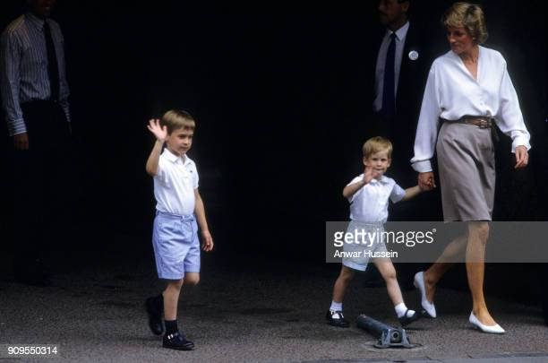 Diana Princess of Wales with Prince William and Prince Harry visit the Duchess of York following the birth of Princess Beatrice at the Portland...