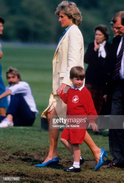 Diana, Princess of Wales with Prince William attends a polo match at Smiths Lawn on May 31, 1987 in Windsor Great Park, Berkshire, England. Diana...