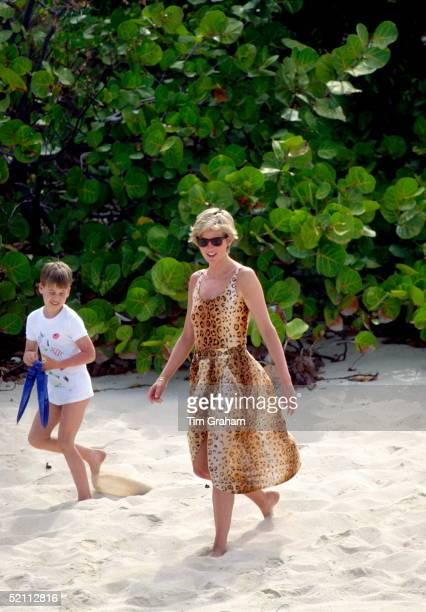 Diana Princess Of Wales With Prince William On A Beach Holiday In Necker