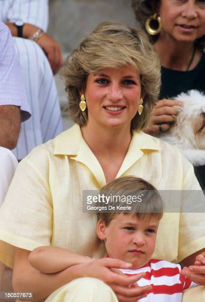 Diana Princess of Wales with Prince William on holiday in Majorca Spain on August 10 1987