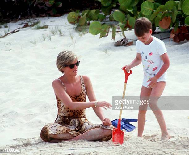 Diana Princess of Wales with Prince William on Holiday In Necker Island In The Caribbean on April 11 in the British Virgin Islands