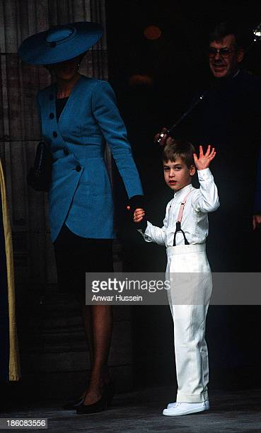 Diana Princess of Wales with Prince William who is acting as a pageboy at a society wedding in Hereford Cathedral on October 08 1988 in Hereford...