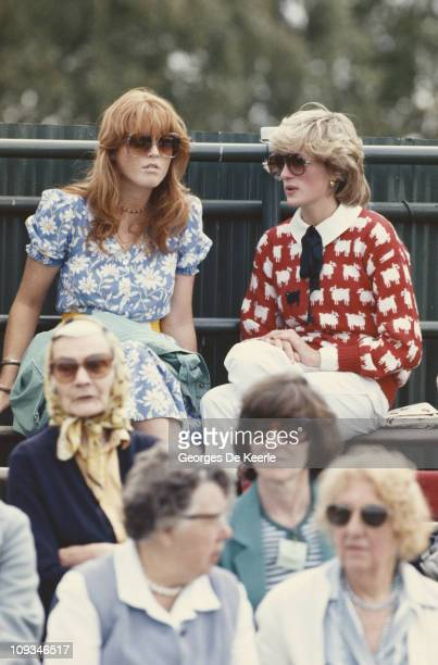 Diana Princess of Wales with Sarah Ferguson at the Guard's Polo Club Windsor June 1983 The Princess is wearing a jumper with a sheep motif from the...