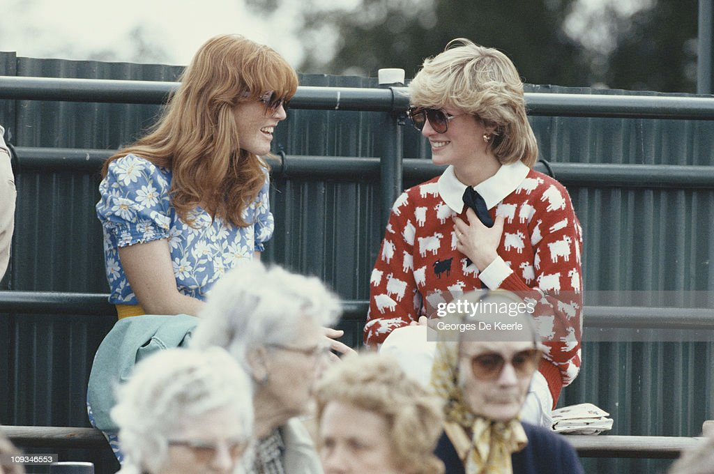 Diana, Princess of Wales (1961 - 1997) with Sarah Ferguson at the Guard's Polo Club, Windsor, June 1983. The Princess is wearing a jumper with a sheep motif from the London shop, Warm And Wonderful.