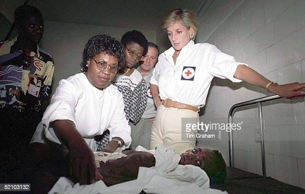 Diana Princess Of Wales With Seven Year Old Helena Ussoua Who Lost Most Of Her Intestines In A Landmine Blast
