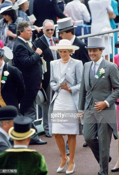 Diana Princess Of Wales With The Duke Of Westminster At Ascot Racesin The Background James Whitaker Of The Daily Mirror Talking To Princess Diana's...