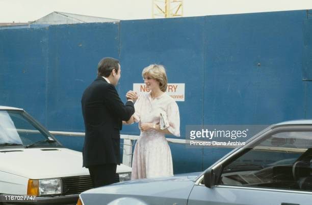 Diana Princess of Wales with the former King Constantine of Greece outside St Mary's Hospital in London June 1983