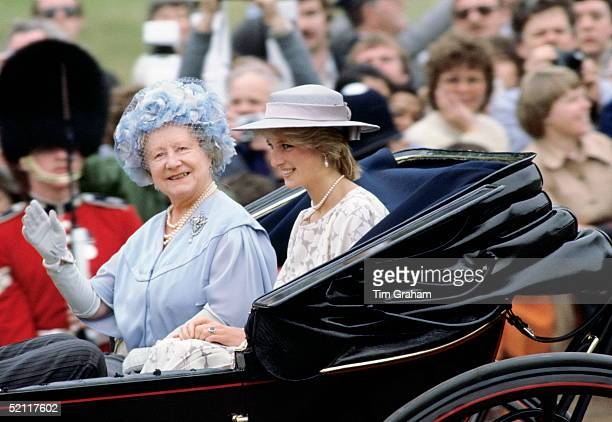 Diana Princess Of Wales With The Queen Mother Taking Part In The Trooping The Colour Procession