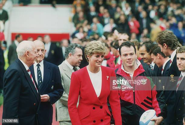 Diana Princess of Wales with Welsh rugby player Ieuan Evans during the 1991 Rugby World Cup Australia beat Wales 334