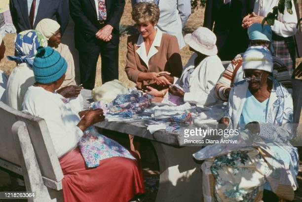 Diana Princess of Wales with women at the Leprosy and Tropical Disease Ward in Harare Hospital Zimbabwe 11th July 1993