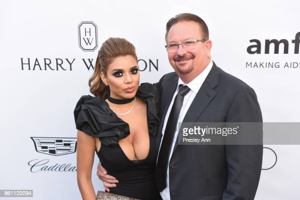Diana Rapport and Mike Rapport attends amfAR Los Angeles 2017 Arrivals at Ron Burkleâs Green Acres Estate on October 13 2017 in Beverly Hills...