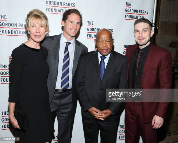 Diana Reveson Executive Director of the Gordon Parks Foundation Peter Kunhardt Jr Congressman John Lewis and Alex Soros attend the 2017 Gordon Parks...