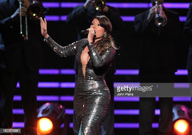 Diana Reyes performs onstage at the 25th Anniversary of Univision's 'Premio Lo Nuestro A La Musica Latina' on February 21 2013 in Miami Florida