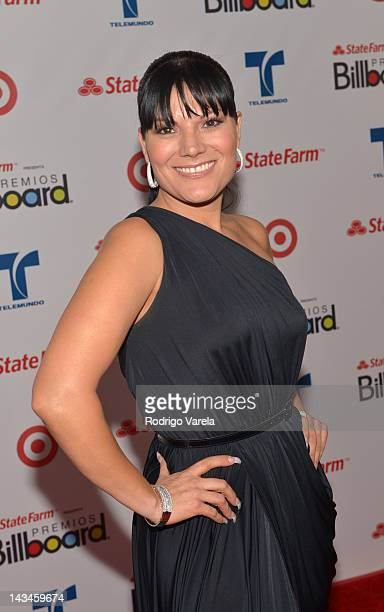Diana Reyes poses backstage during Billboard Latin Music Awards 2012 at Bank United Center on April 26 2012 in Miami Florida
