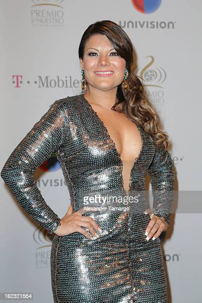 Diana Reyes poses in the press room at the 25th anniversary of Univision's Premio lo Nuestro a la Musica Latina at the AmericanAirlines Arena on...