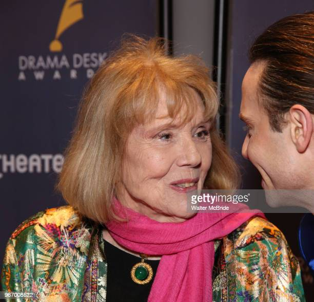 Diana Rigg and Jordan Roth during the arrivals for the 2018 Drama Desk Awards at Town Hall on June 3 2018 in New York City