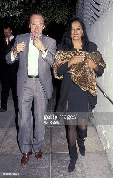 Diana Ross and Arne Naess during Arne Naess and Diana Ross Sighting at Spago December 7 1990 at Spagos Restaurant in Hollywood California United...