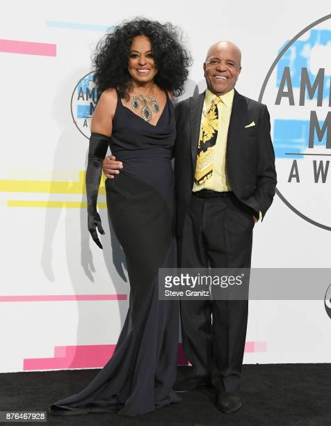 Diana Ross and Berry Gordy pose in the press room during the 2017 American Music Awards at Microsoft Theater on November 19 2017 in Los Angeles...