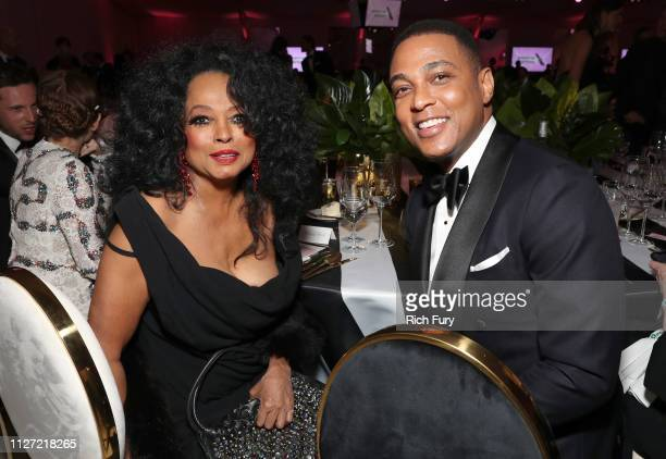 Diana Ross and Don Lemon attend the 27th annual Elton John AIDS Foundation Academy Awards Viewing Party sponsored by IMDb and Neuro Drinks...