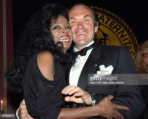 Diana Ross and husband Arne Naess show that they're happy enough to be at the Friars Club tribute to Diana Ross at the WaldorfAstoria