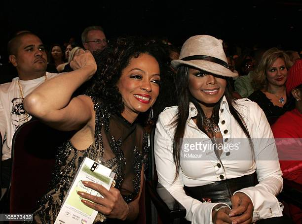 Diana Ross and Janet Jackson during 32nd Annual American Music Awards Backstage and Audience at Shrine Auditorium in Los Angeles California United...