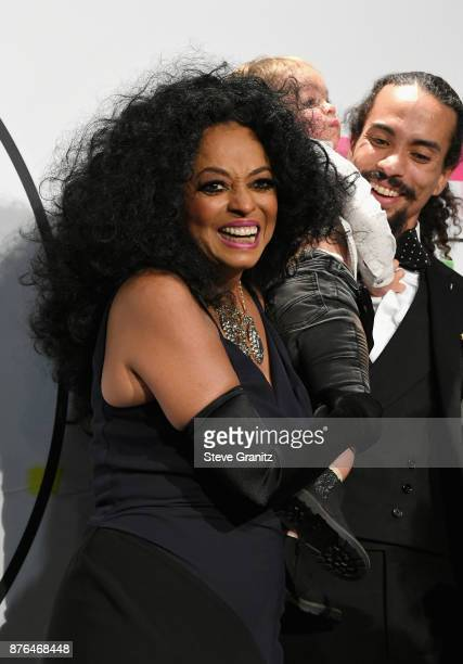 Diana Ross and Ross Naess pose in the press room during the 2017 American Music Awards at Microsoft Theater on November 19 2017 in Los Angeles...