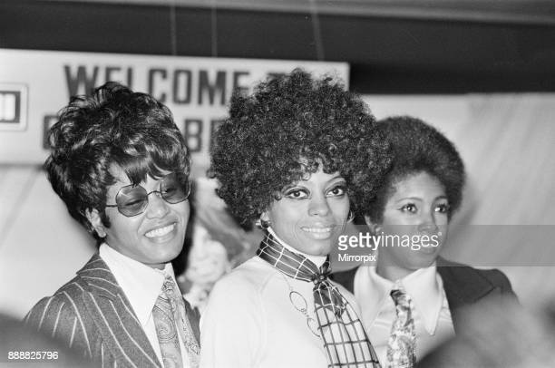 Diana Ross and the Supremes pictured at the London Press Reception for their latest single 'Love Child' . Lady in stripy jacket is Cindy Birdsong...