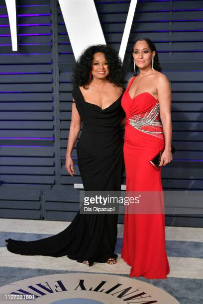 Diana Ross and Tracee Ellis Ross attend the 2019 Vanity Fair Oscar Party hosted by Radhika Jones at Wallis Annenberg Center for the Performing Arts...