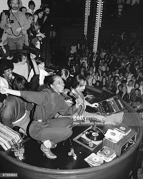 Diana Ross belts out a song from atop the disco booth at Studio 54